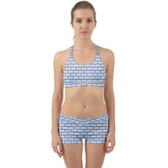Brick1 White Marble & Teal Leather (r) Back Web Sports Bra Set by trendistuff