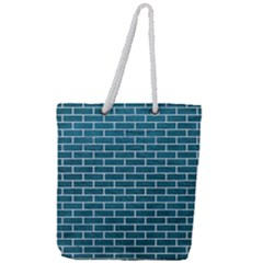 Brick1 White Marble & Teal Leather Full Print Rope Handle Tote (large) by trendistuff