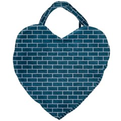 Brick1 White Marble & Teal Leather Giant Heart Shaped Tote by trendistuff