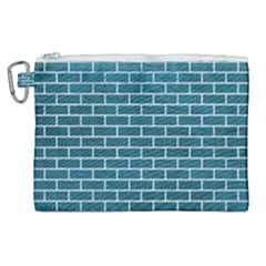 Brick1 White Marble & Teal Leather Canvas Cosmetic Bag (xl) by trendistuff