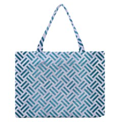 Woven2 White Marble & Teal Brushed Metal (r) Zipper Medium Tote Bag by trendistuff