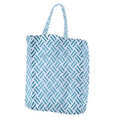 Woven2 White Marble & Teal Brushed Metal (r) Giant Grocery Zipper Tote by trendistuff