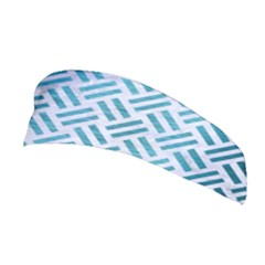 Woven2 White Marble & Teal Brushed Metal (r) Stretchable Headband
