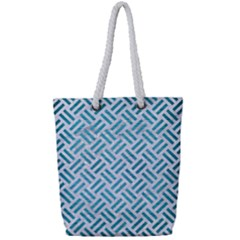 Woven2 White Marble & Teal Brushed Metal (r) Full Print Rope Handle Tote (small) by trendistuff