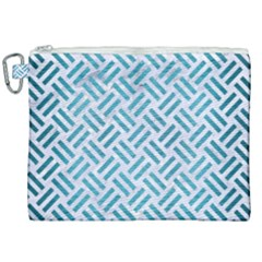 Woven2 White Marble & Teal Brushed Metal (r) Canvas Cosmetic Bag (xxl) by trendistuff