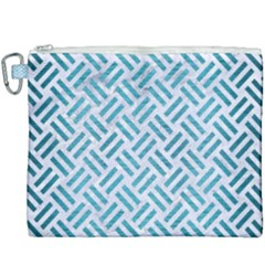 Woven2 White Marble & Teal Brushed Metal (r) Canvas Cosmetic Bag (xxxl) by trendistuff