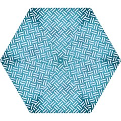 Woven2 White Marble & Teal Brushed Metal Mini Folding Umbrellas by trendistuff