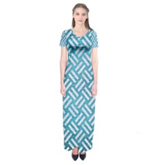 Woven2 White Marble & Teal Brushed Metal Short Sleeve Maxi Dress