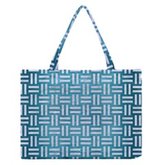 Woven1 White Marble & Teal Brushed Metal Zipper Medium Tote Bag by trendistuff