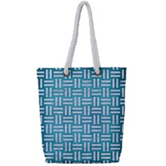 Woven1 White Marble & Teal Brushed Metal Full Print Rope Handle Tote (small) by trendistuff