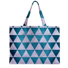Triangle3 White Marble & Teal Brushed Metal Zipper Mini Tote Bag by trendistuff