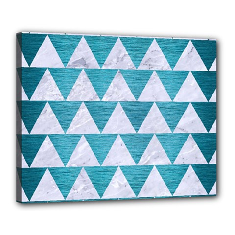 Triangle2 White Marble & Teal Brushed Metal Canvas 20  X 16  by trendistuff