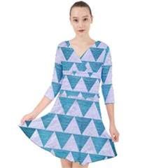 Triangle2 White Marble & Teal Brushed Metal Quarter Sleeve Front Wrap Dress