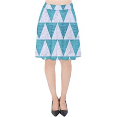 Triangle2 White Marble & Teal Brushed Metal Velvet High Waist Skirt by trendistuff