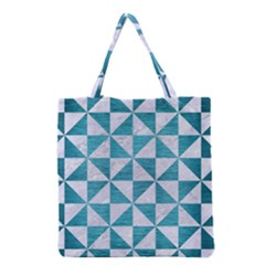 Triangle1 White Marble & Teal Brushed Metal Grocery Tote Bag by trendistuff