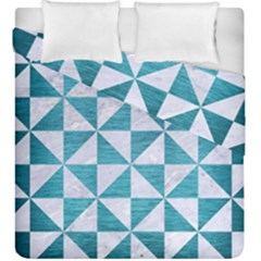 Triangle1 White Marble & Teal Brushed Metal Duvet Cover Double Side (king Size) by trendistuff