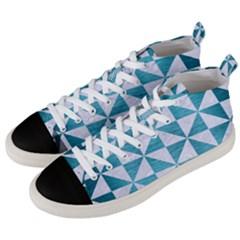 Triangle1 White Marble & Teal Brushed Metal Men s Mid Top Canvas Sneakers by trendistuff