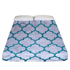 Tile1 White Marble & Teal Brushed Metal (r) Fitted Sheet (california King Size) by trendistuff