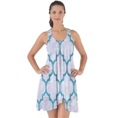 Tile1 White Marble & Teal Brushed Metal (r) Show Some Back Chiffon Dress by trendistuff