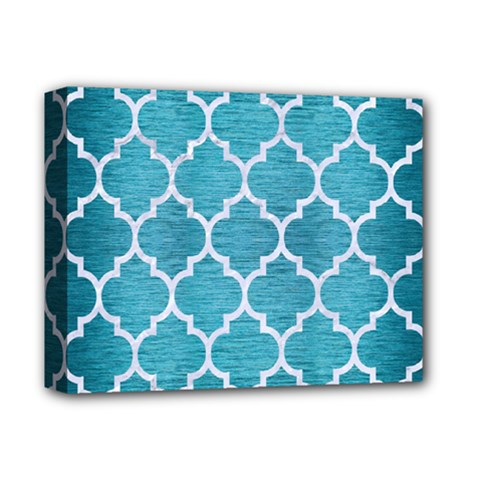 Tile1 White Marble & Teal Brushed Metal Deluxe Canvas 14  X 11  by trendistuff