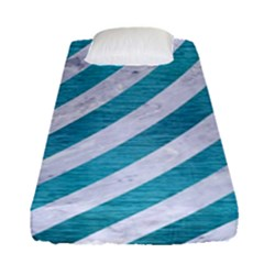 Stripes3 White Marble & Teal Brushed Metal (r) Fitted Sheet (single Size)