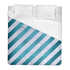 Stripes3 White Marble & Teal Brushed Metal (r) Duvet Cover (full/ Double Size) by trendistuff