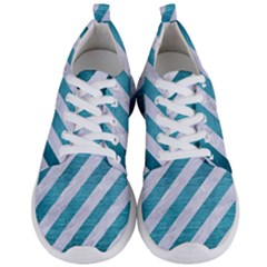 Stripes3 White Marble & Teal Brushed Metal (r) Men s Lightweight Sports Shoes