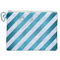 Stripes3 White Marble & Teal Brushed Metal (r) Canvas Cosmetic Bag (xxl) by trendistuff