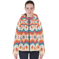 Symmetric Distorted Shapes                             Women s Hooded Puffer Jacket by LalyLauraFLM