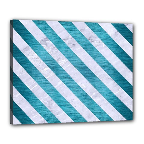 Stripes3 White Marble & Teal Brushed Metal Canvas 20  X 16  by trendistuff