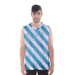 Stripes3 White Marble & Teal Brushed Metal Men s Basketball Tank Top