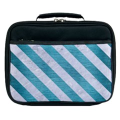 Stripes3 White Marble & Teal Brushed Metal Lunch Bag