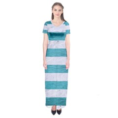 Stripes2white Marble & Teal Brushed Metal Short Sleeve Maxi Dress