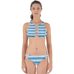 Stripes2white Marble & Teal Brushed Metal Perfectly Cut Out Bikini Set by trendistuff