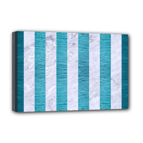 Stripes1 White Marble & Teal Brushed Metal Deluxe Canvas 18  X 12   by trendistuff