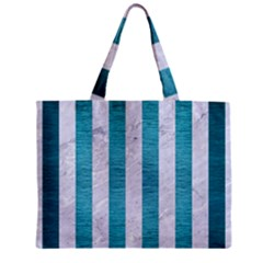 Stripes1 White Marble & Teal Brushed Metal Zipper Mini Tote Bag by trendistuff