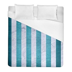 Stripes1 White Marble & Teal Brushed Metal Duvet Cover (full/ Double Size) by trendistuff