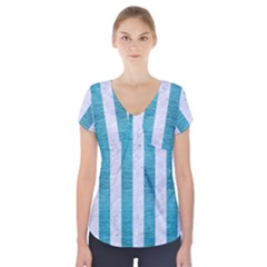 Stripes1 White Marble & Teal Brushed Metal Short Sleeve Front Detail Top