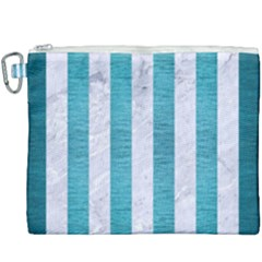 Stripes1 White Marble & Teal Brushed Metal Canvas Cosmetic Bag (xxxl) by trendistuff