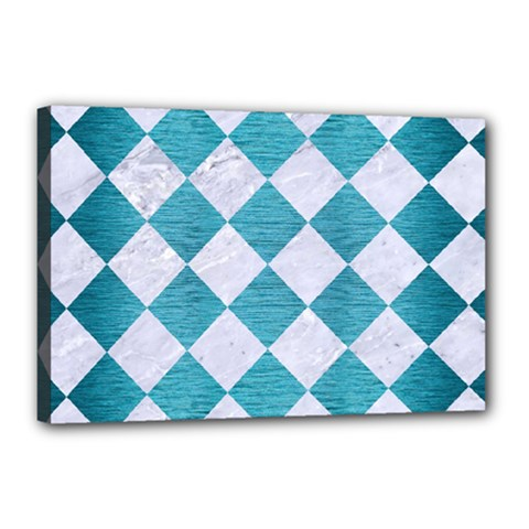 Square2 White Marble & Teal Brushed Metal Canvas 18  X 12  by trendistuff