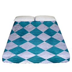 Square2 White Marble & Teal Brushed Metal Fitted Sheet (california King Size) by trendistuff