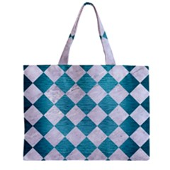 Square2 White Marble & Teal Brushed Metal Zipper Mini Tote Bag by trendistuff