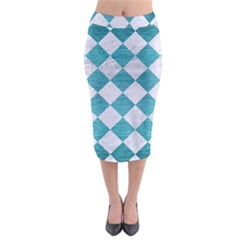 Square2 White Marble & Teal Brushed Metal Midi Pencil Skirt by trendistuff
