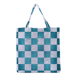 Square1 White Marble & Teal Brushed Metal Grocery Tote Bag by trendistuff