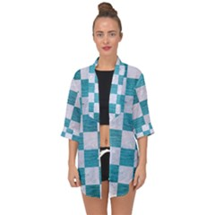 Square1 White Marble & Teal Brushed Metal Open Front Chiffon Kimono