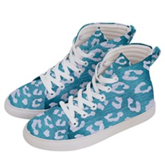 Skin5 White Marble & Teal Brushed Metal (r) Men s Hi Top Skate Sneakers by trendistuff