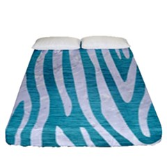 Skin4 White Marble & Teal Brushed Metal (r) Fitted Sheet (queen Size) by trendistuff