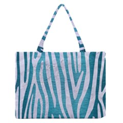 Skin4 White Marble & Teal Brushed Metal (r) Zipper Medium Tote Bag by trendistuff