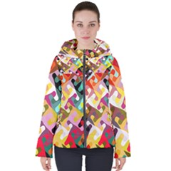 Colorful Shapes                              Women s Hooded Puffer Jacket