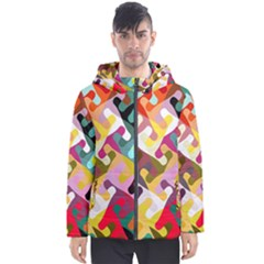Colorful Shapes                               Men s Hooded Puffer Jacket